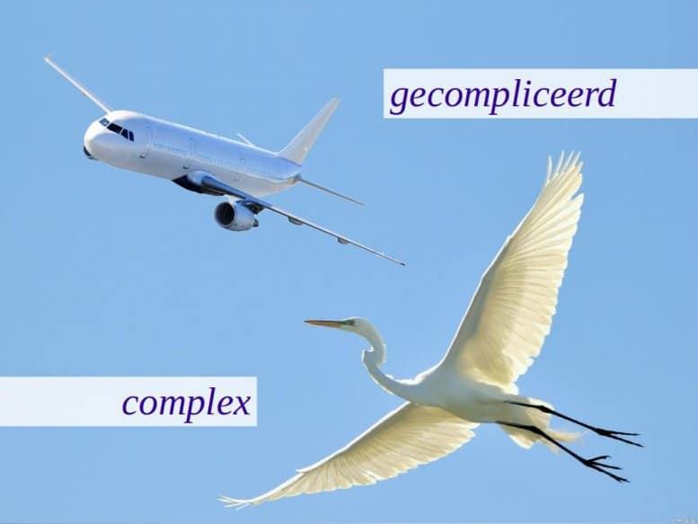Vliegtuig: gecompliceerd, vogel: complex