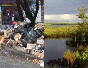 Opgehoopt afval en een schoon natuurgebied